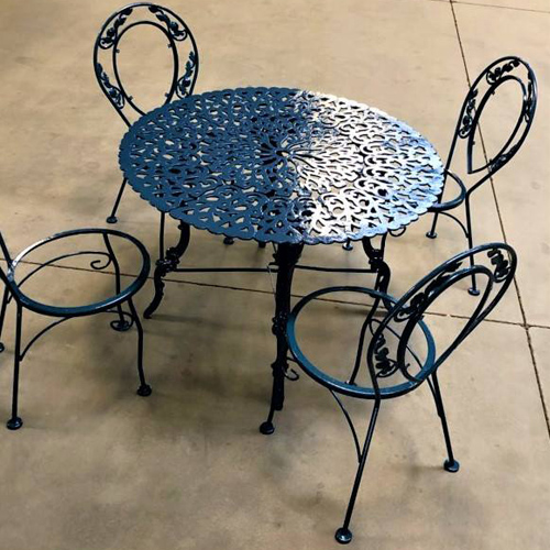 Custom Blue Powder Coated Table and Chairs